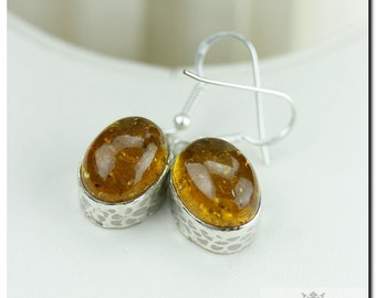 OVAL Cut BALTIC AMBER 925 Solid (Nickel Free) Sterling Silver Italian Made Dangle Earrings E411
