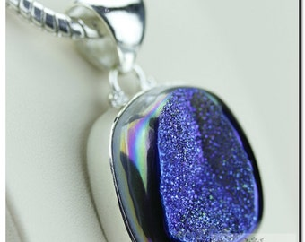 AAA Midnight Moonshine Titanium Window Drusy Druzy 925 SOLID Sterling Silver Pendant + 4mm Snake Chain p1256