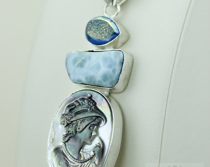 Carved CAMEO CARRIBEAN LARIMAR Mother of Pearl 925 S0LID Sterling Silver Pendant + 4mm Snake Chain & Free Worldwide Express  Shipping mp270