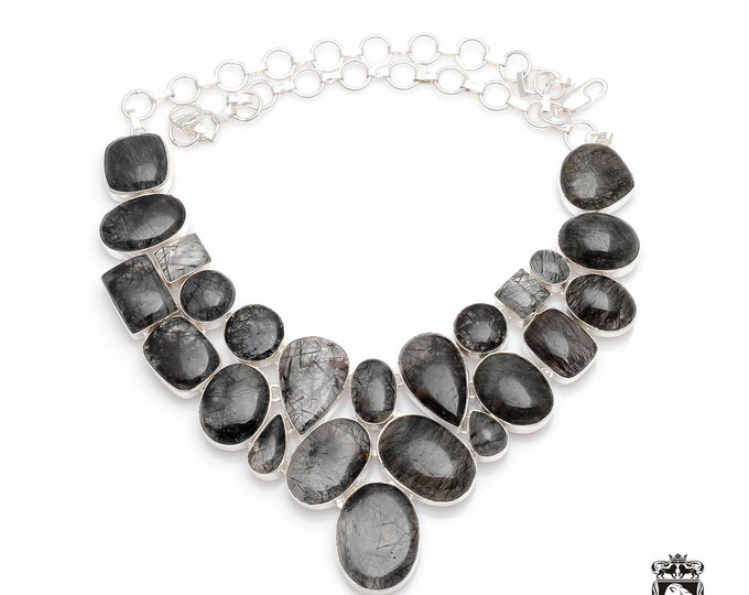 GENUINE Max Inclusions Tourmalated TOURMALINATED Quartz 925 Sterling Silver + Copper Bonded Necklace & Worldwide Express Shipping N0043