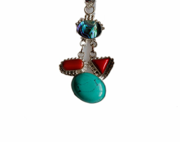 Turquoise Coral Abalone 925 Sterling Silver + BONDED Copper Pendant Chain & Worldwide Shipping p4475