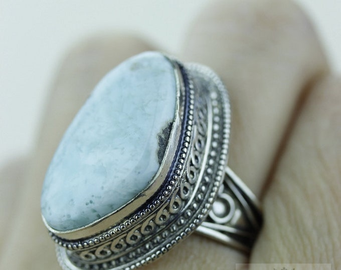 Size 8.5 - Caribbean LARIMAR 925 S0LID (Nickel Free) Sterling Silver Vintage Setting Ring & FREE Worldwide Express Shipping R1789