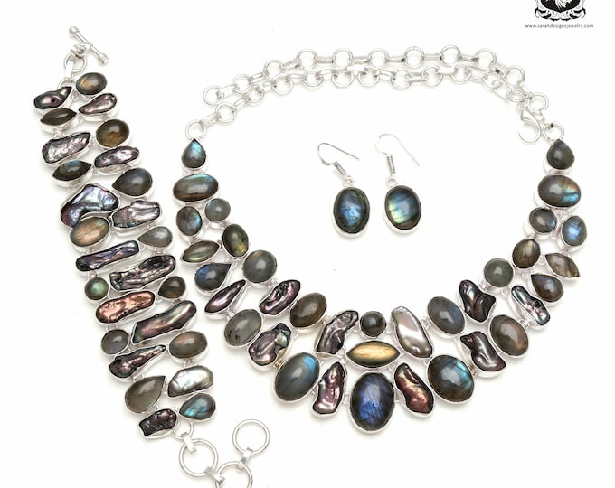 Get yourself a deal! Freshwater Pearl LABRADORITE 925 Sterling Silver + Copper Bonded Necklace Bracelet & Earrings ALL Included SET578