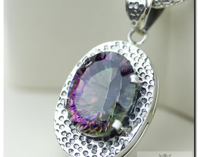 Made in Italy! 27 Carats Mystic Topaz 925 SOLID Sterling Silver Pendant & 4mm Snake Chain + FREE Worldwide Shipping
