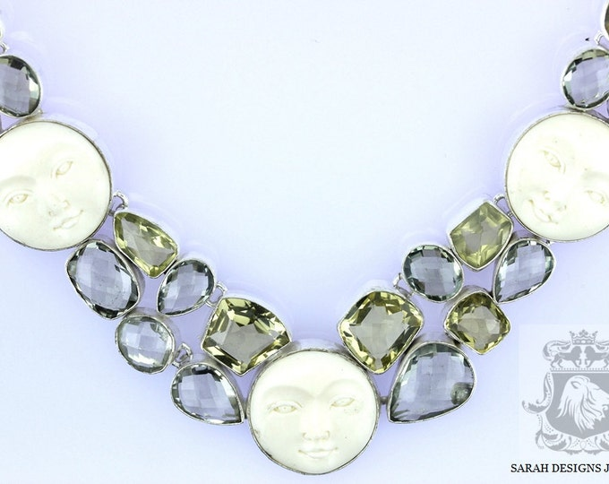Carved Goddess Face PRASIOLITE Lemon Topaz 925 SOLID Sterling Silver Necklace