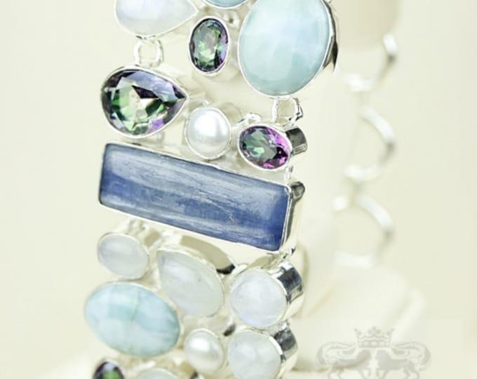 Sultry Ladies! Kyanite LARIMAR Moonstone Mystic Topaz 925 S0LID Sterling Silver Bracelet & FREE Worldwide Express Shipping B1743