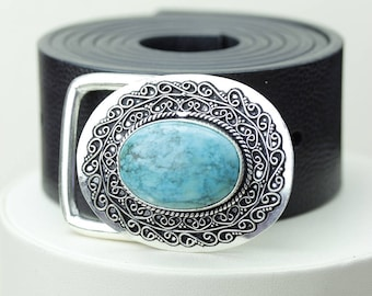 Tibetan TURQUOISE Vintage Filigree Antique 925 Fine S0LID Sterling Silver + Copper BELT Buckle T65