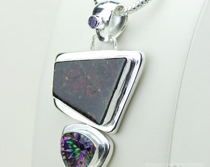 Ultra Vibrant!! GENUINE Canadian AMMOLITE 925 Solid Sterling Silver Pendant + 4mm Snake Chain & FREE Worldwide Shipping P1587