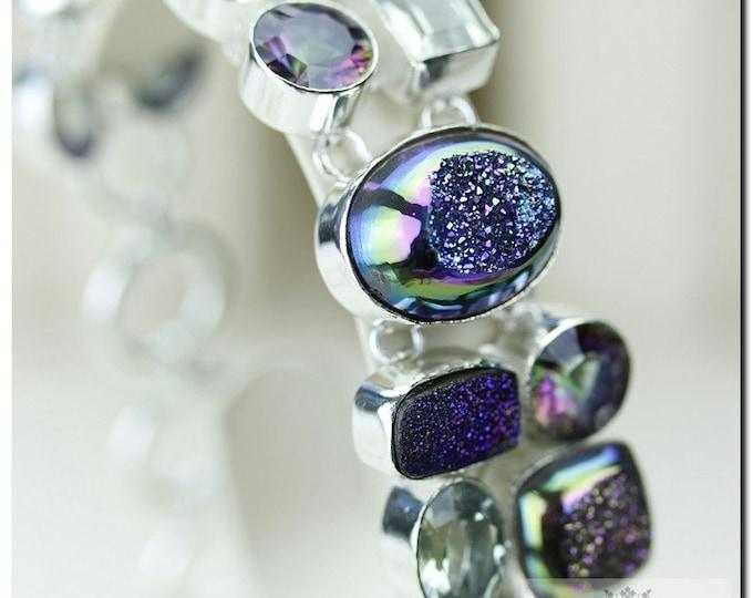 Titanium Window Druzy DRUSY MYSTIC Topaz PRASIOLITE 925 Solid Sterling Silver Bracelet + Free Worldwide Shipping B1161