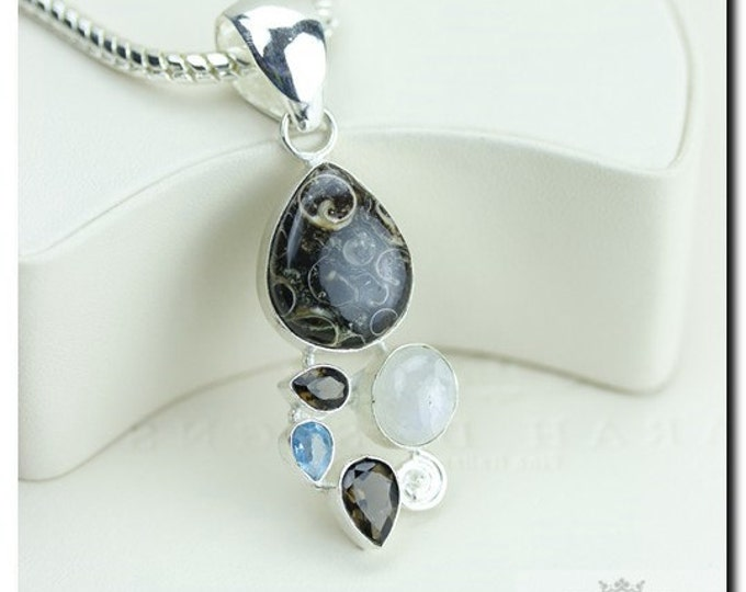 Turritella Agate Fossil Moonstone Blue Topaz 925 SOLID Sterling Silver Pendant + 4mm Snake Chain & FREE Worldwide Shipping p1864