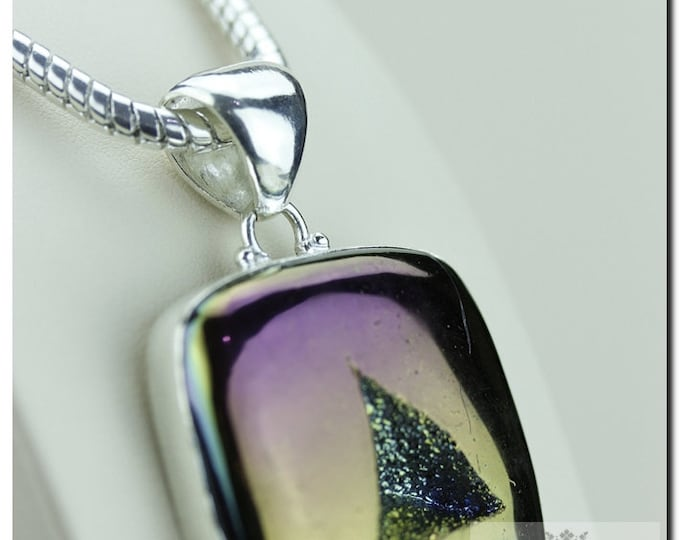 Purple Midnight Moonshine Titanium Window Drusy Druzy 925 SOLID Sterling Silver Pendant + 4mm Snake Chain  p1253