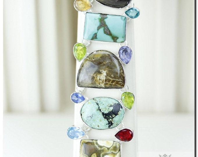 Tibet TURQUOISE OCEAN Jasper DENDRITIC Agate 925 Solid Sterling Silver Bracelet + Free Worldwide Shipping  B1157