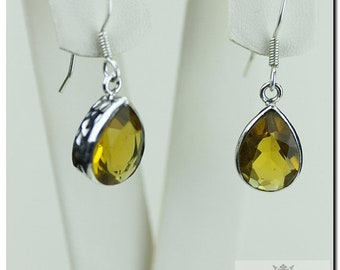 Tear Drop MADEIRA CHAMPAGNE CITRINE  925 Solid (Nickel Free) Sterling Silver Italian Made Dangle Earrings  E402