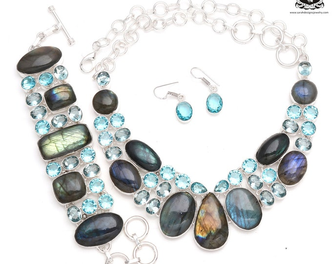LOVING this like Crazy! Canadian LABRADORITE Blue Topaz 925 Sterling Silver + Copper Bonded Necklace Bracelet & Earrings ALL Included SET536