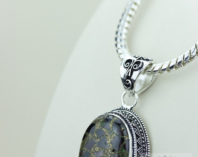 TOURMALINE in Pyrite VINTAGE Style Setting 925 Solid Sterling Silver Pendant + 4mm Snake Chain & FREE Worldwide Shipping P2305