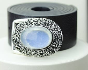 Genuine Ceylon RAINBOW MOONSTONE Vintage Filigree Antique 925 Fine S0LID Sterling Silver + Copper BELT Buckles T7