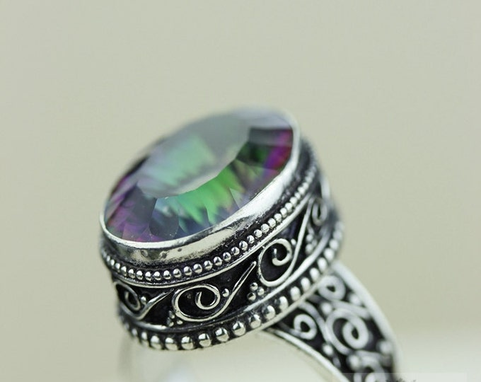 Size 8 - MYSTIC Topaz 925 S0LID (Nickel Free) Sterling Silver Vintage Setting Ring & FREE Worldwide Express Shipping R1710