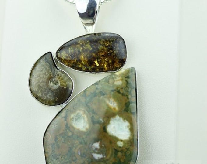 RAINFOREST JASPER RHYOLITE Ammonite Fossil 925 S0LID Sterling Silver Pendant + 4mm Snake Chain & Free Worldwide Shipping mp363