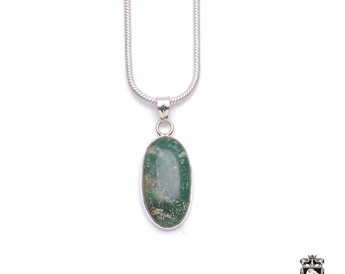 MOSS AGATE Fine 925+ 975 S0LID Sterling Silver Pendant + Snake Chain P6284