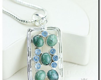 Made in Canada! Tibet Turquoise Blue Topaz 925 SOLID Sterling Silver Pendant + 4mm Snake Chain & Worldwide Shipping