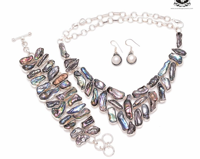 Color Play at Work! Abalone Flat Pearl 925 Sterling Silver + Copper Bonded Necklace Bracelet & Earrings ALL Included SET507