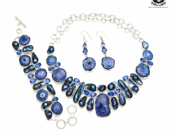 Blast of Blue! Dyed Blue STALACTITE 925 Sterling Silver + Copper Bonded Necklace Bracelet & Earrings ALL Included SET581