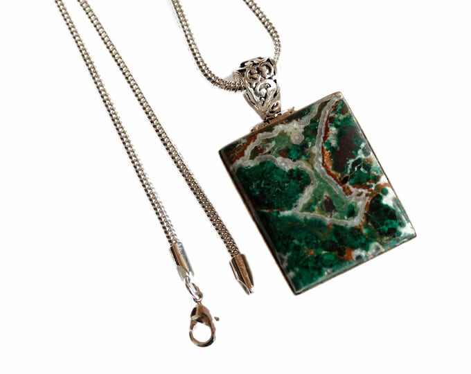 Boulder Turquoise Antique Filigree 925 Sterling Silver + BONDED Copper Pendant Snake Chain & Worldwide Shipping p4434