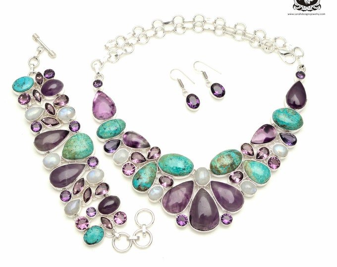 Total Knockout! SHATTUCKITE Azurite Amethyst MOONSTONE 925 Sterling Silver + Copper Bonded Necklace Bracelet & Earrings ALL Included SET531