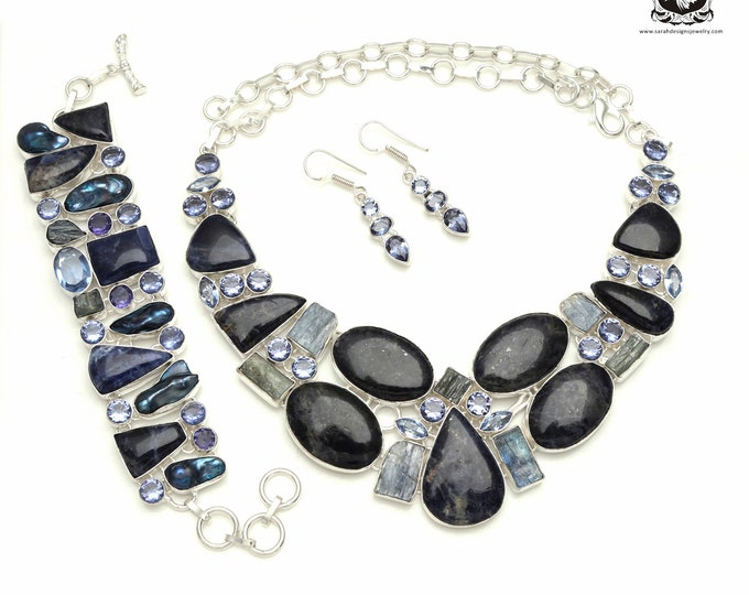 Style it Up! Canadian SODALITE Kyanite Iolite 925 Sterling Silver + Copper Bonded Necklace Bracelet & Earrings ALL Included SET528