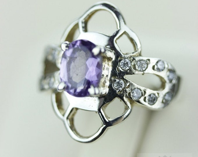 Size 6.5 AMETHYST WHITE TOPAZ (Nickel Free) 925 Fine S0LID Sterling Silver Ring & Free Worldwide Express Shipping r741