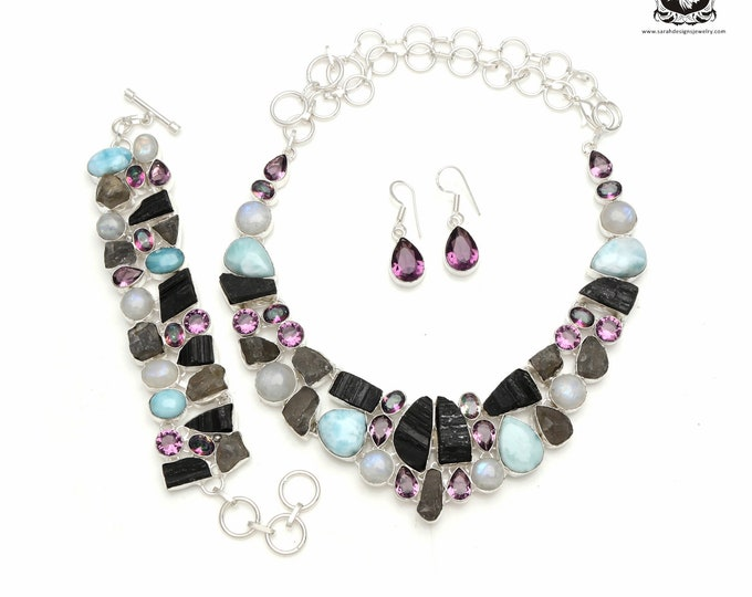 Bundles of Energy! LARIMAR Tourmaline 925 Sterling Silver + Copper Bonded Necklace Bracelet & Earrings ALL Included SET575