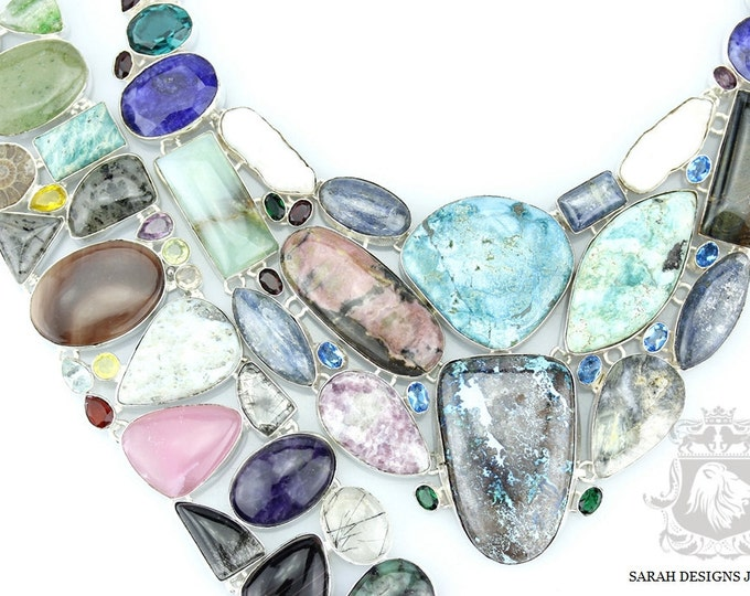 AZURITE RHODONITE SAPPHIRE Ammonite 925 Solid Sterling Silver Necklace  Set 94