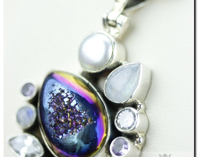 Titanium Drusy Druzy Pearl Clear Topaz 925 SOLID Sterling Silver Pendant & 4mm Snake Chain + FREE Worldwide Shipping p835