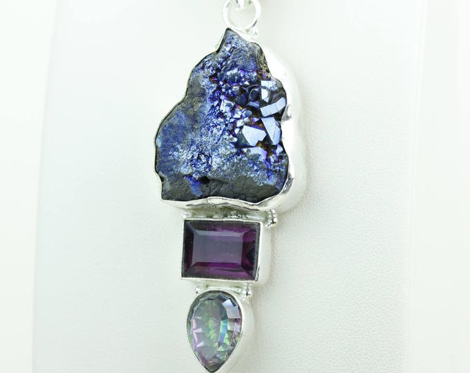 Titanium Drusy Amethyst Mystic Topaz 925 S0LID Sterling Silver Pendant + 4MM Snake Chain & Worldwide Shipping p4051