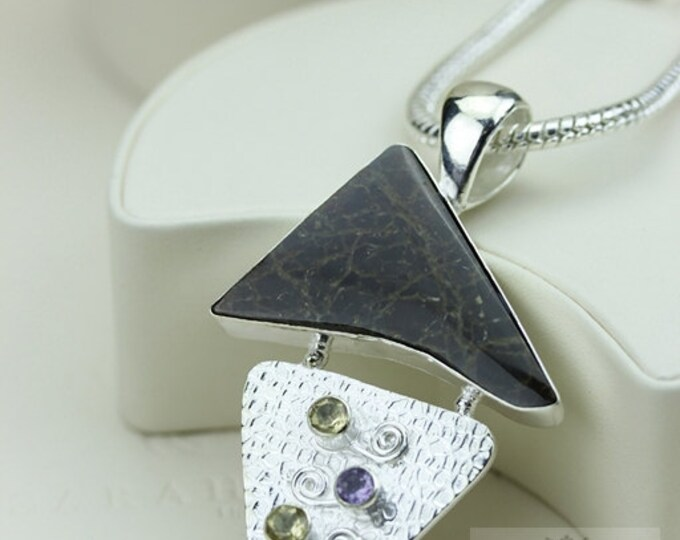 Euro Design! GENUINE Canadian AMMOLITE 925 Solid Sterling Silver Pendant + 4mm Snake Chain & FREE Worldwide Shipping P1583