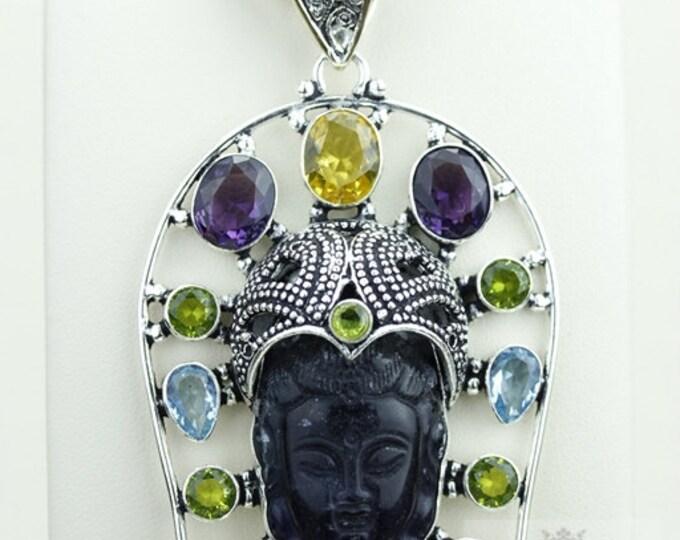 Grab This! Multi Stone Fluorite Kwan Yin Guanyin BUDDHA Goddess Face Moon Face 925 S0LID Sterling Silver Pendant Chain & Free Shipping p3723