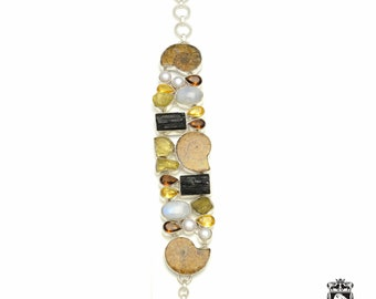 Ammonite Fossil Moonstone Black Tourmaline Citrine 925 Sterling Silver + Copper Bonded Bracelet & Worldwide Express Tracked Shipping B3222