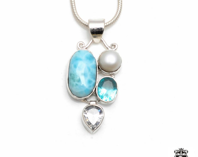 Dont Stop Till You Get Enough! LARIMAR Pearl Aquamarine Fine 925+ 975 S0LID Sterling Silver Pendant + Snake Chain P6073