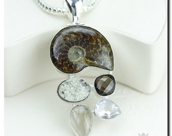 Ammonite Fossil Pyrite Drusy Rutile Quartz 925 SOLID Sterling Silver Pendant + 4mm Snake Chain & FREE Worldwide Shipping