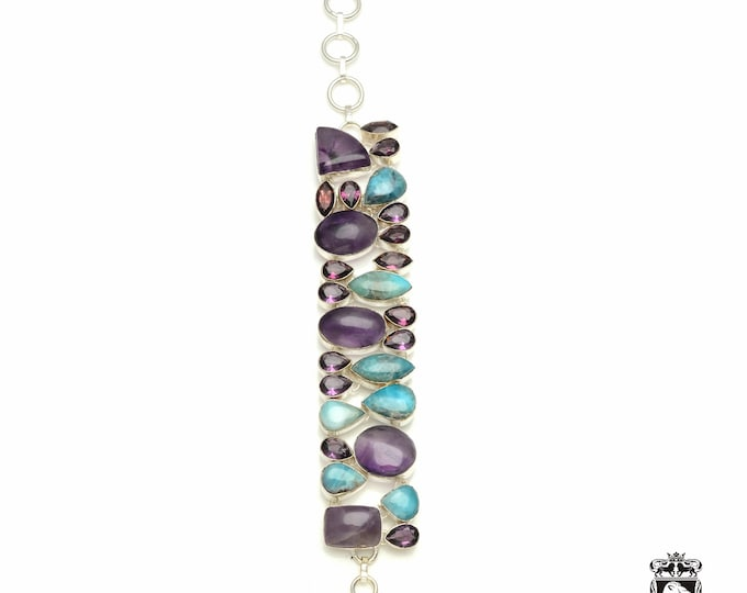 This one got it going! Larimar Amethyst Mystic Topaz 925 Sterling Silver + Copper Bonded Bracelet & Worldwide Express Tracked Shipping B3321