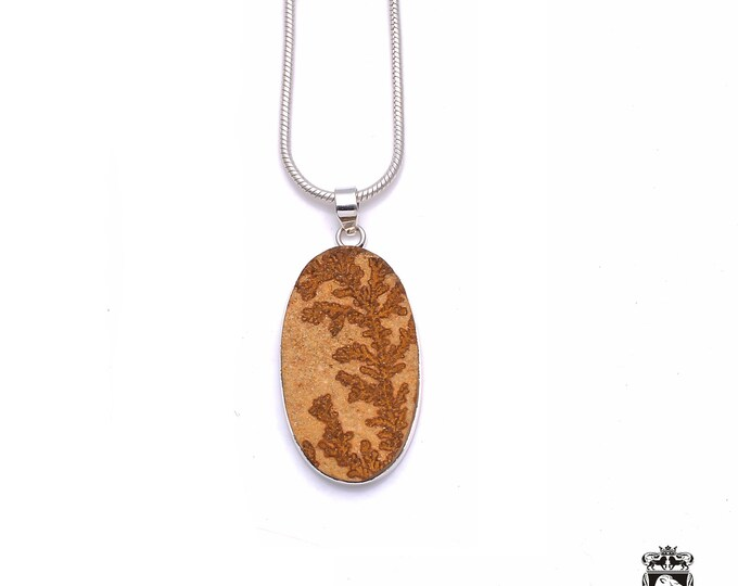 For people with Classy Taste! German DENDRITE on FELSITE Fine 925+ 975 S0LID Sterling Silver Pendant + Snake Chain P6233