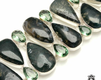Classy and Glamorous! MOSS Agate APATITE 925 Sterling Silver + Copper Bonded Bracelet & Worldwide Express Tracked Shipping B3271