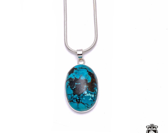Natural Concept! TIBETAN TURQUOISE Fine 925+ 975 S0LID Sterling Silver Pendant + Snake Chain P6237