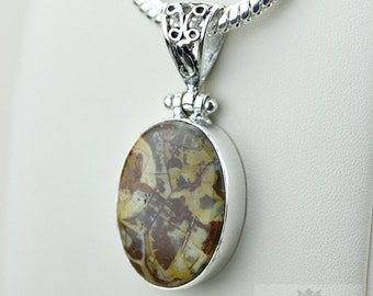 Mexican Birds Eye Jasper (Genuine) 925 S0LID Sterling Silver Pendant + 4MM Snake Chain & Worldwide Shipping p3535