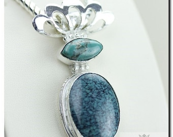 Check This Out! TIBET TURQUOISE 925 Solid Sterling Silver Pendant + Free Worldwide Shipping P1937