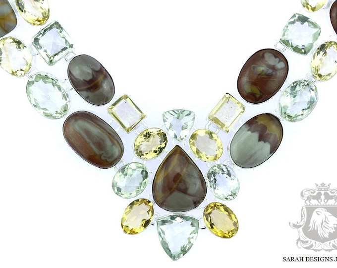 Brecciated Mookaite Jasper PRASIOLITE Citrine 925 SOLID Sterling Silver Necklace