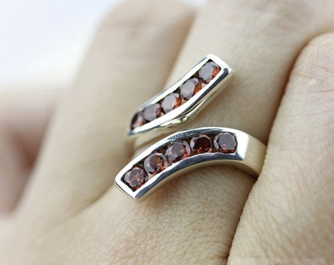 Size 5 GARNET Dual LAYERED (Nickel Free) 925 Fine Sterling Silver Ring r5