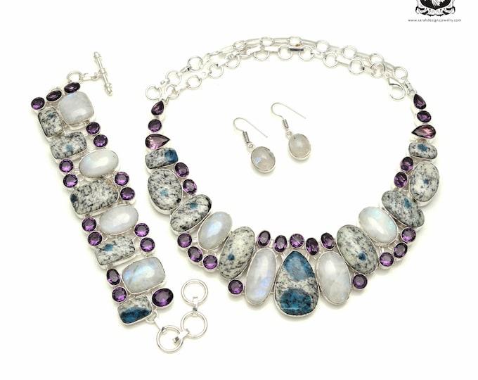 Make buying Jewelry FUN Again! K2 jasper MOONSTONE 925 Sterling Silver + Copper Bonded Necklace Bracelet & Earrings ALL Included SET563