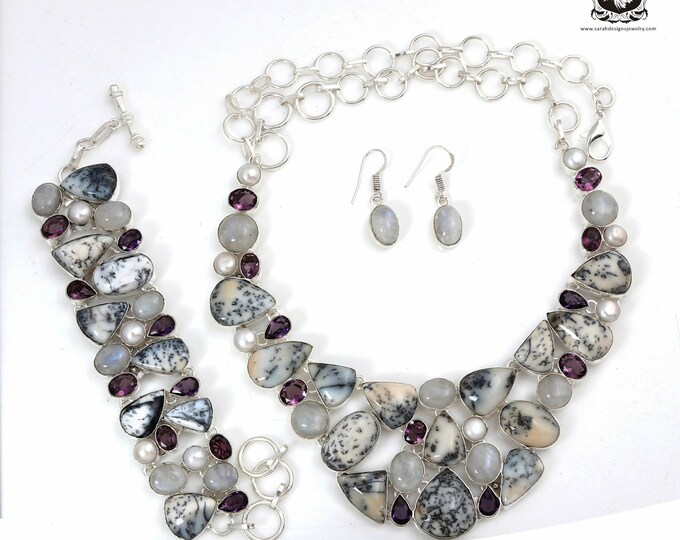 Fabulous Concept! Dendrite Opal Amethyst MERLINITE Pearl Sterling Silver + Copper Bonded Necklace Bracelet & Earrings ALL Included SET527