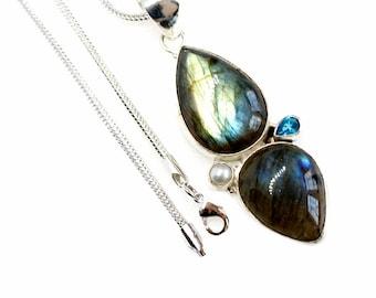 Shining Labradorite Blue Topaz Pearl 925 Sterling Silver + BONDED Copper Pendant Snake Chain & Worldwide Shipping p4542